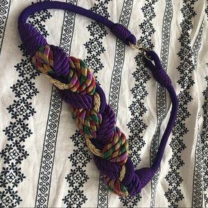 Vintage Accessories - VINTAGE purple & gold rope belt